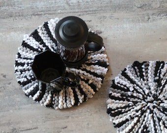 Black, Gray, & White Round Trivets (set of 2), Handmade from Cotton T Shirts, Free US Shipping