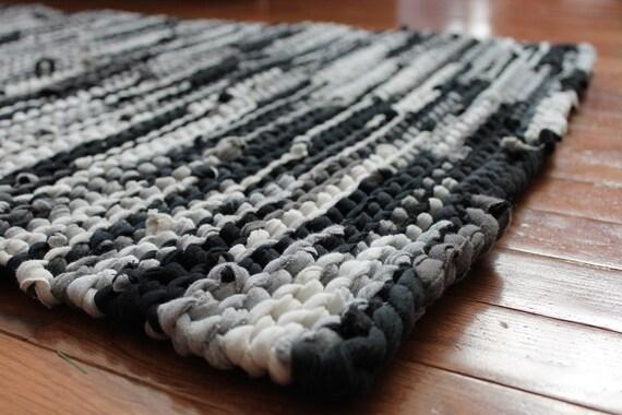 Rag Rug Black Gray Upcycled T Shirts White Creamy Ivory Etsy