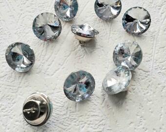 38mm Alloy Round Rhinestone Shank Buttons Wedding Bridal Dress Button Grey
