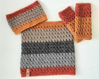 Crochet Neckwarmer, Crochet Headband, Crochet Wristwarmers, Cluster Stitch, Matching Crochet Set, Earwarmer, Fingerless Gloves, Outerwear