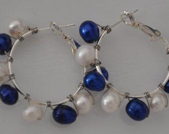 Royal Blue White Pearl Hoop Earrings, Blue Pearl hoop earrings, White Pearl Hoop earrings, Hoop earrings, Pearl Hoop earrings