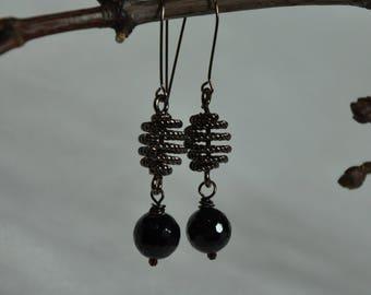 Spiral Earrings- Spiral drop Earrings, Agate Spiral Earrings, Midnight Spiral Earrings,Elegant Spiral Earrings, Drop Spiral earrings