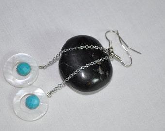 Long Turquoise  earrings, Long Dangle Earrings,Long White earrings. Turquoise  long earrings. Ladies earrings