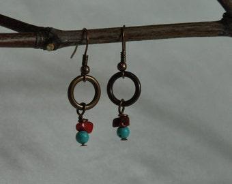 Earrings- Boho Earrings, Brown Earrings, Red Earrings, Bamboo Earring, Turquoise Earrings, Ladies earrings