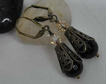 Black agate earrings, Agate earrings, Agate drop earrings, Vintage style Agate drop earrings, Black earrings