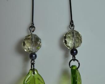 Peridot leaf Earrings. peridot earrings. Glass Dangle Earrings. Ladies Earrings