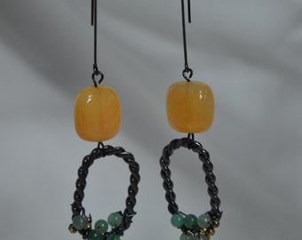 Yellow earrings. Gemstone Yellow Dangle Earrings. Yellow Statement earrings. Agate Yellow earrings. Yellow sapphire earrings