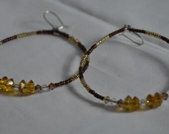Bold Hoop Earrings. Seed Bead Earrings. Amber Earrings. Ladies Earrings