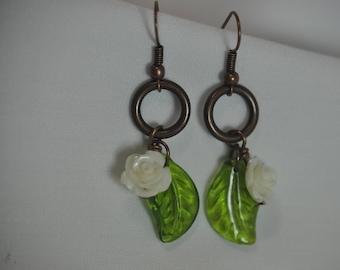 White Rose earrings, Flower Dangle earrings, Cute White Rose Earrings, Rose Earrings