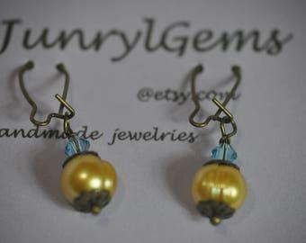 Yellow earrings. Yellow Drop earrings. Yellow Pearl Dangle earrings. Simple Yellow earrings