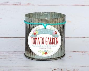 Tomato Garden Soy Wax Candle in 12 oz. Zinc Jar - Garden Summer Tomato Candle for Gardeners, Gift, Housewarming, Home, Hostess, Birthday