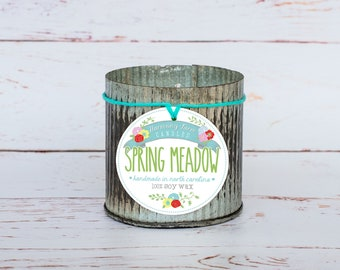 Spring Meadow Soy Wax Candle in 12 oz. Zinc Jar - Green Grass, Spring Candle, Cut Grass, Fresh Candle, Housewarming, Host Gift