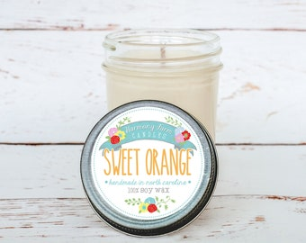 Sweet Orange Soy Wax Candle in 8 oz. Jelly Jar - Citrus Orange Candle for Birthday, Housewarming, Home, Air Freshening, Hostess Gift