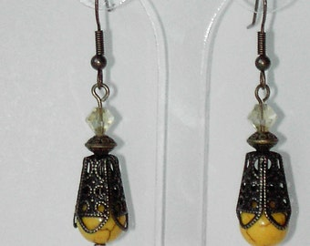 Yellow Turquoise brass earrings (#637)