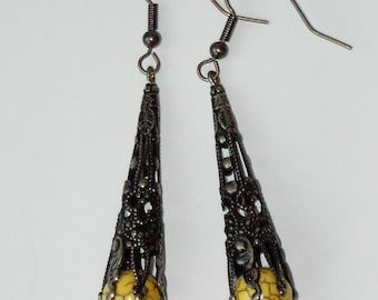 Yellow Turquoise brass earrings (#633)