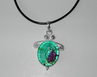 Dichroic Glass pendant leather necklace (#536-6)
