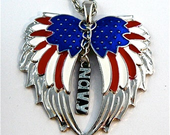 American Flag double guardian angel wings with Navy car or truck charm rear view mirror charm, Hang proudly, military,ornament,,Veteran