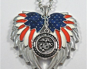American Flag double guardian angel wings with Marines car or truck charm rear view mirror charm, Hang proudly, military,ornament,,Veteran