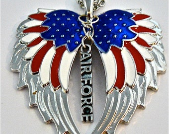 American Flag double guardian angel wings with Air Force car or truck charm rear view mirror charm, Hang proudly, military,ornament,,Veteran