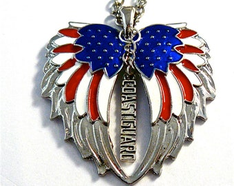American Flag double guardian angel wings with Coat Guard car/ truck charm rear view mirror charm, Hang proudly, military,ornament,,Veteran
