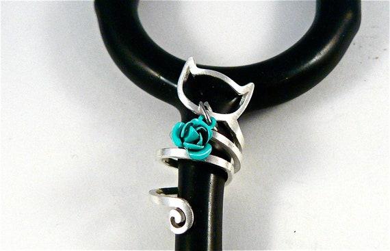 RN, Stethoscope ID tag Spiral Cat design Rose Bud charm ring,vet,nurse