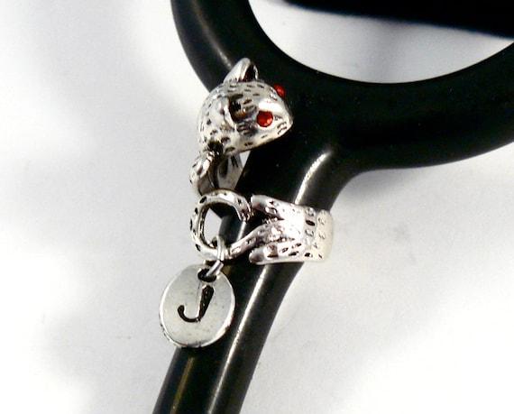 RN, Stethoscope ID tag Spiral Cat design Caduceus medical charm ring,vet,nurse