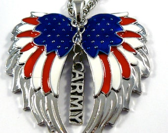 American Flag double guardian angel wings with Army car or truck charm rear view mirror charm, Hang proudly, military,ornament,,Veteran
