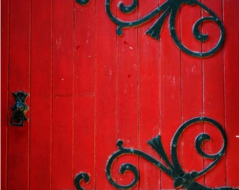 Crimson Red Church Door, Fine Art Photography Print, Black Wrought Iron Metal Embellishments, Manchester, Unique Home Decor, Wall Art