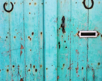 Wood Turquoise Blue Door, Ancient Horse Shoes, Fine Art Photography Print, Manchester, Aqua Blue, Lucky Charm,  Decor, Shabby Chic, Wall Art