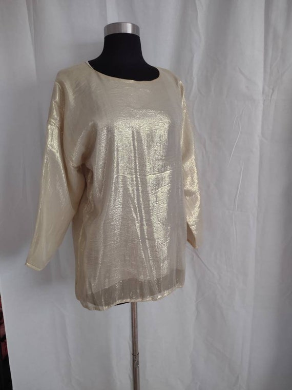 Beautiful I Magnin gold silk blouse - image 4