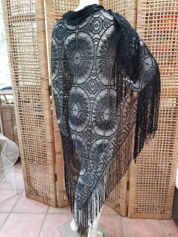 Incredible handmade antique lace shawl