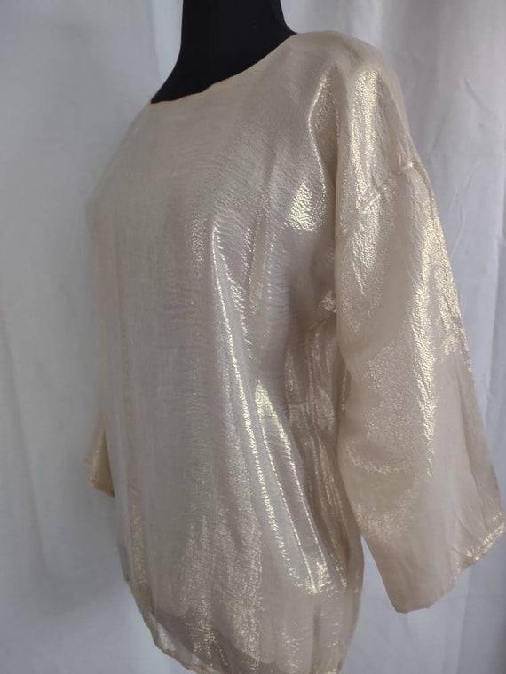 Beautiful I Magnin gold silk blouse - image 5