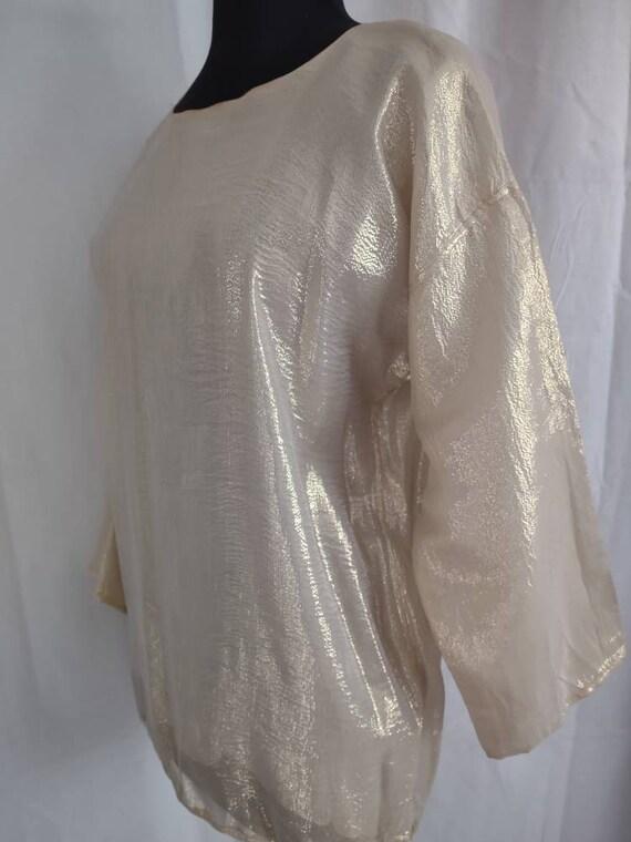 Beautiful I Magnin gold silk blouse - image 3