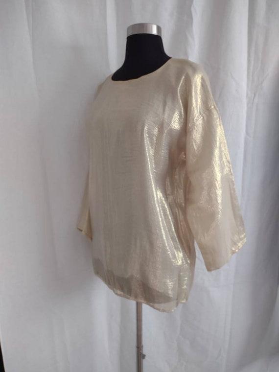 Beautiful I Magnin gold silk blouse - image 2