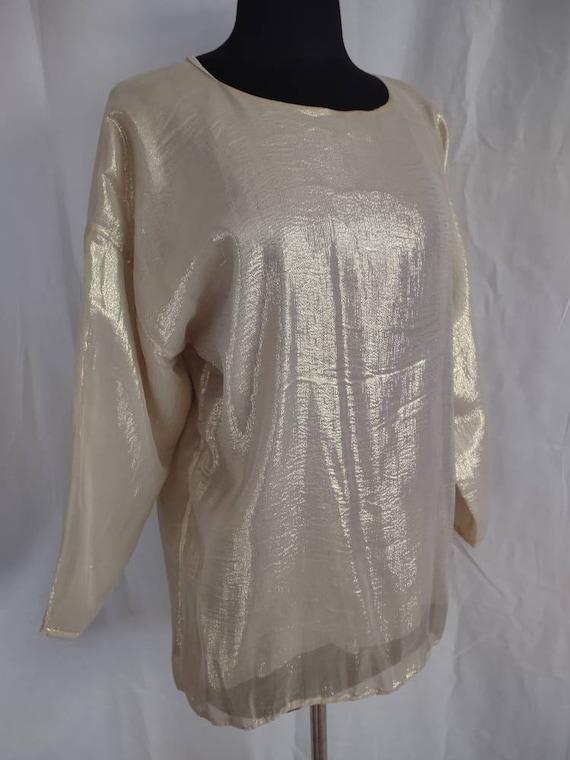 Beautiful I Magnin gold silk blouse - image 1