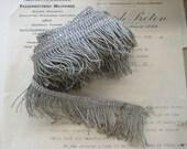 1 yd Antique Vintage UNUSED French 2 quot Silver Metallic Thread Fringe