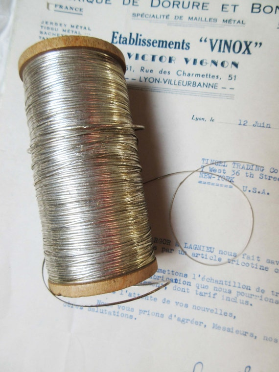 10 yd Vintage Antique French Metallic Copper//White Cord Rope Bakery Twine 1//16/""