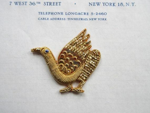 2 Wonderful Unused Vintage Gold Metallic Peacock Appliques