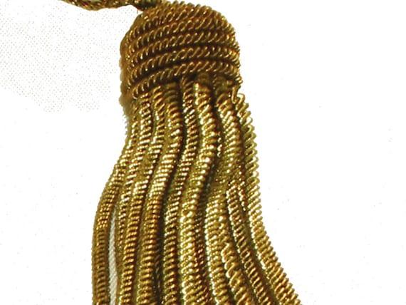 "Pair-Vintage Antique French Very Dark Gold Metallic Bullion 3 1//2/"" Tassel Fringe"