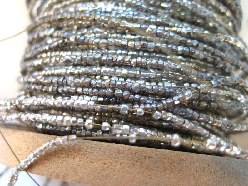 4 yd Vintage Antique French Silver Oval Tinsels Metallic Thread Trim Flyty 1//16/""