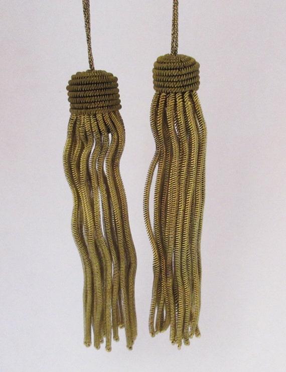 "2 Vintage//Antique French Dark Gold Metallic Bullion Tiny 2 1//4/"" Tassel Fringe"