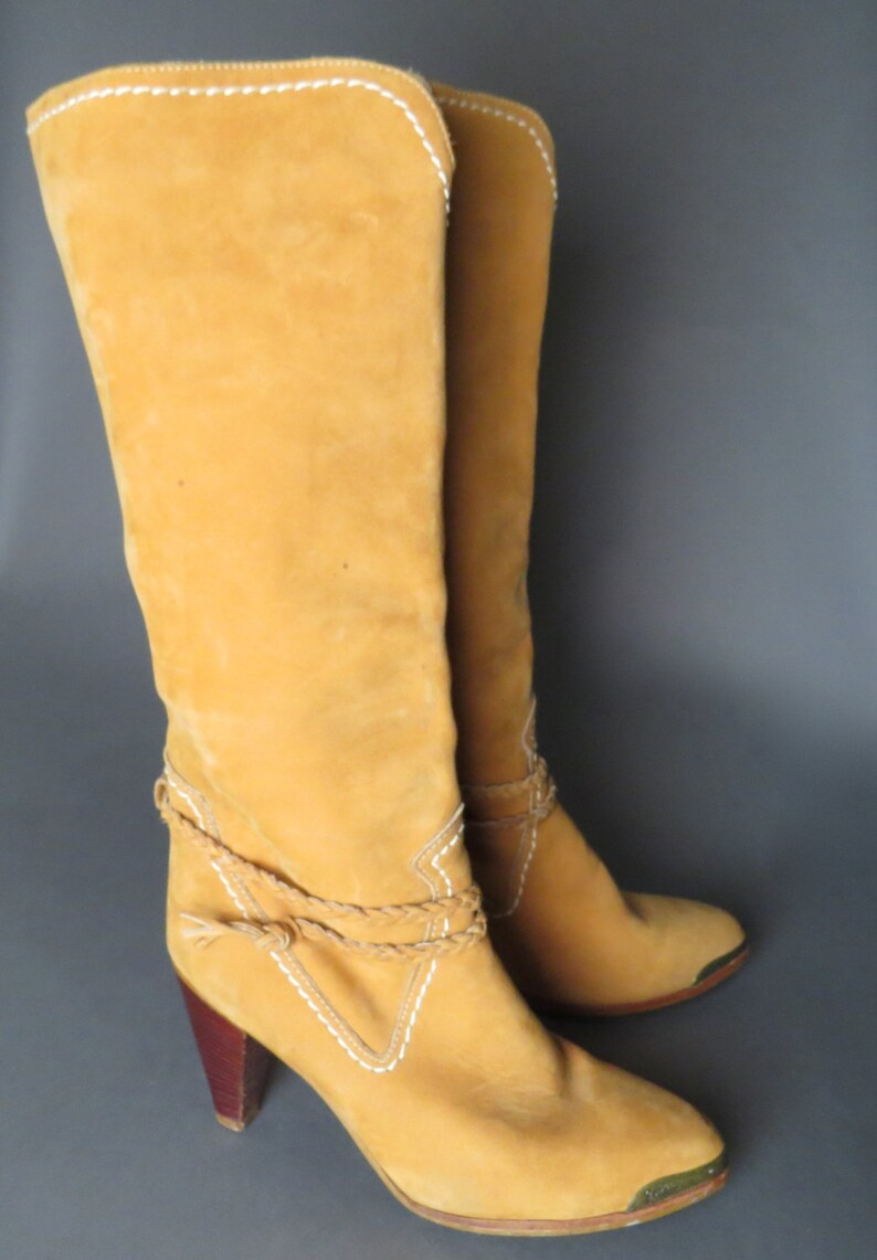 088a3c55862db vintage 70s tan suede ZODIAC southwestern boots // braided ankle strap //  cowgirl boots // boho // size 7