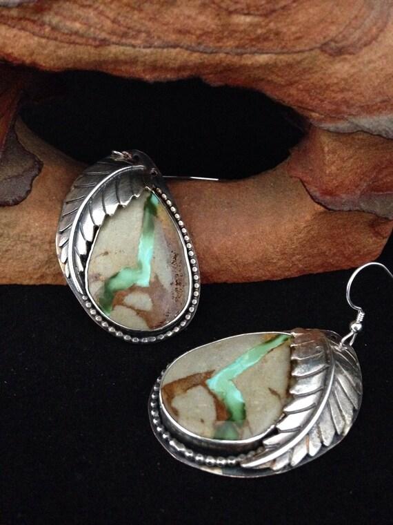Handmade Earrings, OOAK Southwestern, Boho, Cowgirl, Copper, Sterling Silver accents, Royston Ribbon Turquoise Earrings