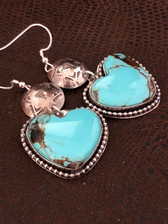 Handmade Jewelry, Turquoise Earrings, Southwestern Jewelry, Baja Turquoise, Light Blue Turquoise, Heart Shape Earrings , One of a Kind