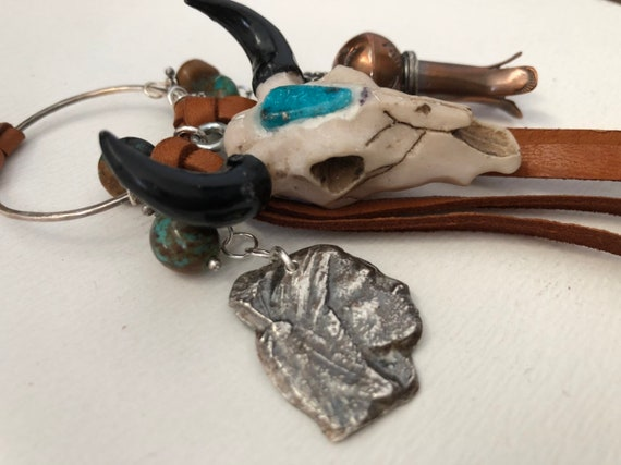 Handmade Jewelry, Southwestern Jewelry, Boho Chic, Charm Necklace, Steer Skull, Turquoise, Fine Silver Indian, Copper Squash Blossom