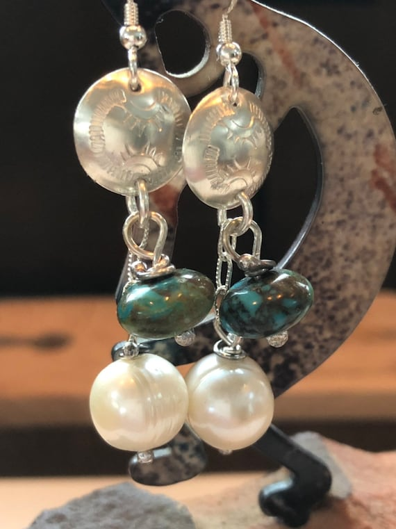 Handmade Earrings, Freshwater Pearls, Kingman Turquoise Beads, Dangle Earrings, Sterling Silver, Southwestern Jewelry