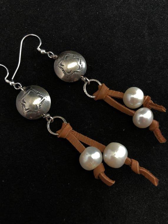 Handmade Sterling Silver, Freshwater Pearl Earrings, Dangle Earrings, Southwestern Jewelry, Boho Chic, Leather Earrings