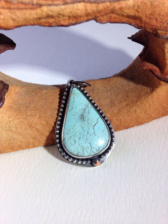 Handmade Jewelry, One of a Kind, Number 8 Turquoise, Pendant, Southwestern, Boho, Cowgirl, Teardrop Turquoise