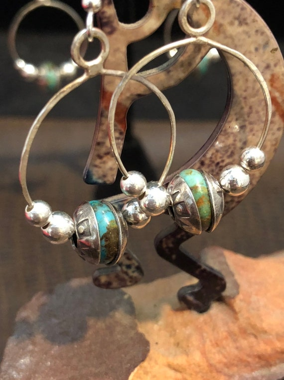 Handmade Jewelry, Kingman Turquoise, Navajo Pearls, Hoop Earrings, minimalist, Dangle earrings