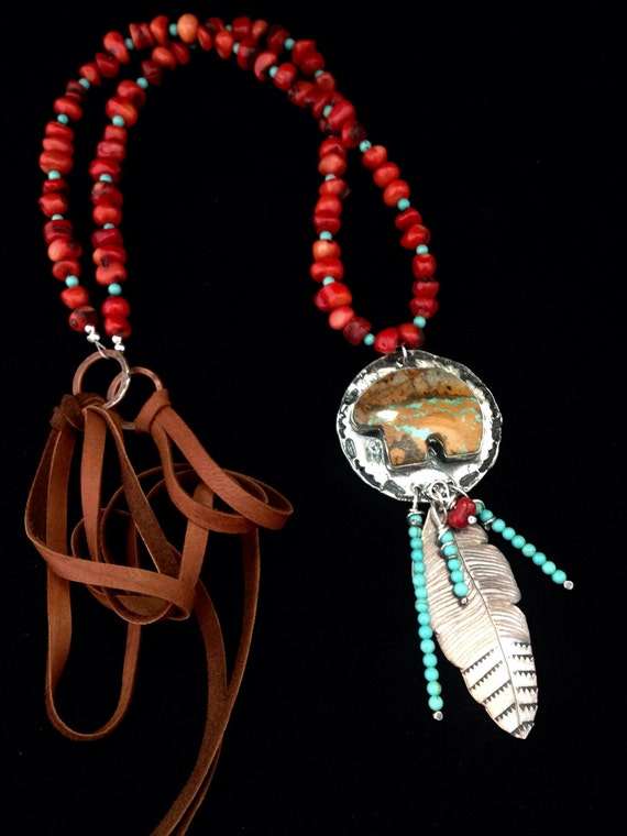 Handmade Jewelry, Southwestern, Boho, Red Coral, Sleeping Beauty Turquoise, Royston Turquoise Bear Pendant Necklace
